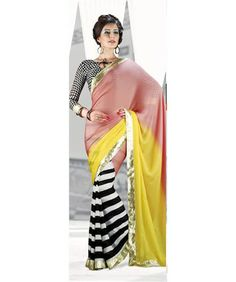 PEACH AND YELLOW WITH ZEBRA LINE MASABA PRINTED SAREES WITH WHITE MATCHING BLOUSE-231 Rs. 2808.00  @ArtistryCollections (www.ArtistryC.in): Online Multi- Brands Retail Shop: Best Buy: Best Value Deals in Jewellery, Electronic Gadgets, Clothing, Accessories, Bath & Body Products, Footwears, Home & Office Living, Corporate Gifting, Loyalty Programs, and Personalize Products Offering