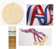 Paint wooden craft ornaments into gold medals!  Just in time for the olympics