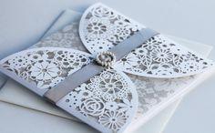 Lasercut Lace Wedding Invitation, £4.95
