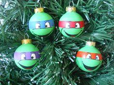 TMNT Ninja Turtles painted ornament set of 4