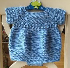 Cute boy's crochet romper pattern.