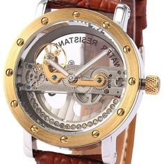 Men Steampunk Skeleton Transparent Brown Automatic Mechanical Awesome Watch