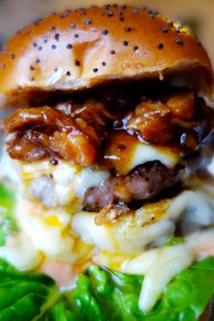 The Rib Tickler ~ double cheeseburger topped with slow-cooked spicy ribs with homemade burger sauce