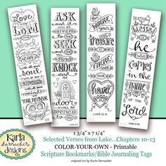 NEW Luke 10-13 Color Your Own Bible Bookmarks Journaling Tags INSTANT DOWNLOAD Scripture Digital Printable Download Christian Religious