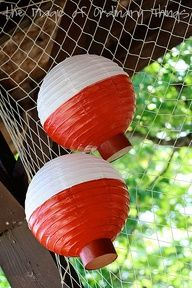 Fishing Themed Birthday party - paper lanterns turned bobbers  Great fish party decor! For a reel good time!