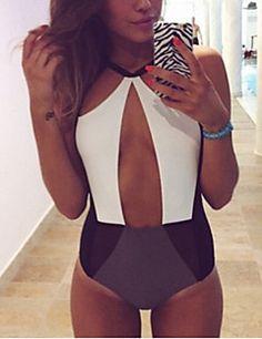 De las mujeres Bikini - Color Único Sin Soporte / Sujetador sin Acolchado - Bandeau - Poliéster