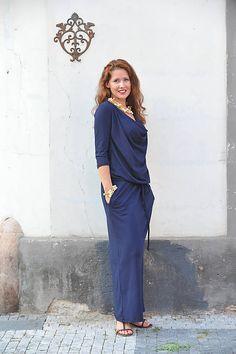 BOHO šaty univerzálne - modré