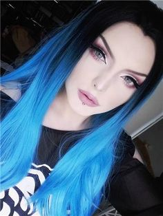 Say Hello to this stunning babe in Electrical Blue Long Sleek Straight Wig with Dark Root and her lenses from Blue Ombre Hair, Pastel Hair, Eva Hair, Hair Dos, Pelo Color Azul, Creative Hair Color, Fantasy Hair, Synthetic Lace Front Wigs, Tips Belleza
