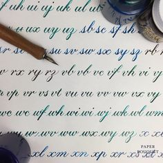 Shades of Blue Calligraphy Drill Practice | Paper Bouquet Studio