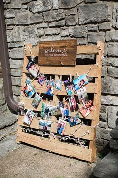 "Gorgeous pallet display for a rustic modern wedding. ""welcome to our beginning"" photo display for a wedding reception"