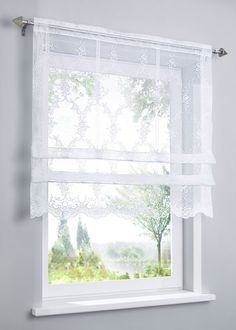 """Clipstore """"Hedda"""" - Home Page Balustrade Balcon, Balustrades, Short Curtains, Lace Curtains, Window Coverings, Window Treatments, Bedroom Window Dressing, Curtain Inspiration, Room Design Bedroom"""