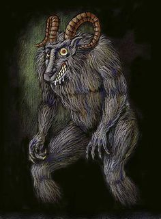 Beast of Billiwhack- North America cryptid: it was first sighted in the 1950s in California, USA. It is described as half man, half sheep (or goat) with grey-black fur, ape-like body, an extended muzzle and goat like horns
