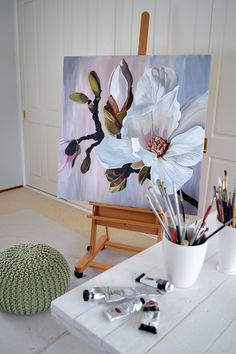 Magnolia Paint, Acrylic Painting Flowers, Diy Canvas Art, Artist Art, Painting Inspiration, Painting & Drawing, Watercolor Paintings, Magnolias, Acrylics