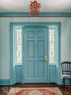 """"""" That's the resounding sentiment when guests walk in Harriet's vivacious entryway. Mathison Glenn closely studied her existing pieces to create the coral-aqua scheme, which repeats throughout the house. Southern Homes, Southern Style, Country Style, French Country, Georgia Homes, Lady In Waiting, Enchanted Home, Atlanta Homes, Entry Hall"""