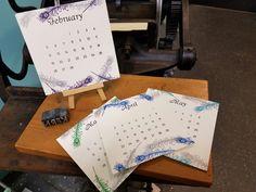 Letterpressed calendars by KERNgirl, studio 119 @ Western Ave Studios, Lowell MA