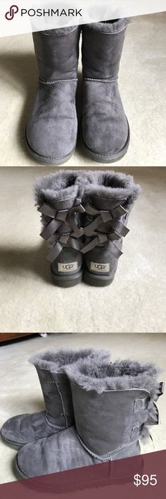 Grey Baily Bow Uggs Worn just a couple of times, these are in great condition. No stains . UGG Shoes Ankle Boots & Booties