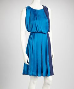 Take a look at this Dark & Light Blue Color Block Pleated Sleeveless Dress by Voir Voir on #zulily today!