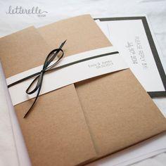 Invitation de mariage Simple de Kraft chic 5 X par letterelledesign
