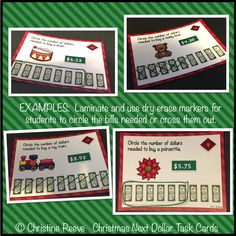 24 Next Dollar Christmas Task Cards for teaching the dollar up strategy.  Another identical cards included without fixed prices to be customized.  Great for seasonal functional life skills practice.  $2