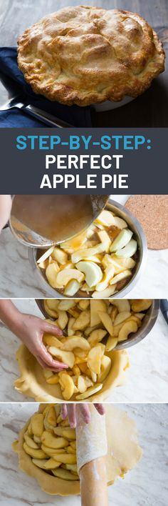 Step-by-Step: How to Make a Perfect Apple Pie Apple Pie Recipes, Apple Desserts, Whole Food Recipes, Delicious Desserts, Dessert Recipes, Cooking Recipes, Fruit Recipes, Recipies, Recipes