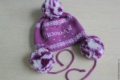 Купить Шапка вязаная детская с помпонами , ушами, вышивкой - фиолетовый, орнамент, шапка вязаная