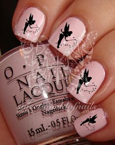Black Tinker Bell Nail Art Nail Water Decals Nail Transfers Wraps