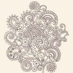 Henna Doodle Flowers and Vines Vector Illustration Desgn
