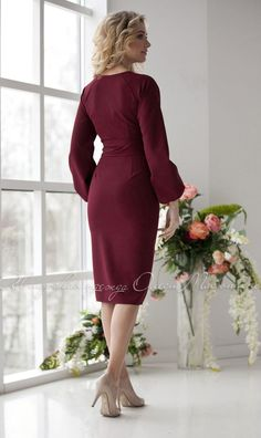 """Stylish dress """"Italia"""" by Olesya Masyutina. Dress made of suiting fabric with stretch in fashionable wine color. Midi dress. 800 models of knitted and fabric women clothes in casual style, evening and wedding"""