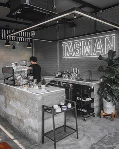 Before the day starts ☕️ : : ตามรอยเพ้ : 🐕🐛 - Interior Ideas Coffee Bar Design, Coffee Shop Interior Design, Coffee Shop Bar, Coffee Store, Restaurant Interior Design, Coffee Shop Counter, Modern Restaurant, Industrial Coffee Shop, Industrial Cafe