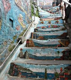 Valparaiso, Santiago de Chile - Stairs to the artist studio Take The Stairs, Painted Stairs, Step By Step Painting, Stairway To Heaven, Art Mural, Street Art Graffiti, Banksy, Public Art, Oh The Places You'll Go