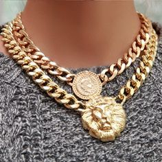 Vintage rihanna Versace style gold chunky lion/queen head chain necklace…Love it! Jewelry Gifts, Gold Jewelry, Jewelery, Jewelry Accessories, Jewelry Necklaces, Bracelets, Cheap Jewelry, Statement Necklaces, Jewellery Box