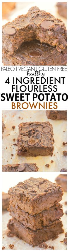 You won't believe these moist fudgy and delicious brownies only use FOUR ingredients and NO butter oil flour OR sugar- The BEST 'healthy' brownies and SO easy! {vegan gluten free paleo refined sugar free} use crunchy nut butter for added texture Coconut Dessert, Paleo Dessert, Gluten Free Desserts, Best Gluten Free Cookies, Fancy Desserts, Vegan Recipes, Snack Recipes, Dessert Recipes, Paleo Vegan