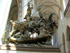 Katharinenkirche in Lübeck. A plaster-copy ofSt. George & the dragonattributed toBernd Notke.