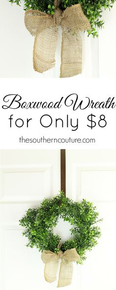 Wreaths don't have to be just for your front porch and outside. Make your very own boxwood wreath to hang inside year round. Making your own wreath will also save you lots of money and won't break the bank. This post has all the full detailed instructions for you to get started now at thesoutherncouture.com.