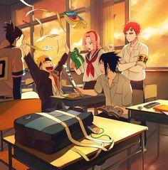 Tags: Anime, Sunset, School, NARUTO, Haruno Sakura, Uzumaki Naruto, Uchiha Sasuke