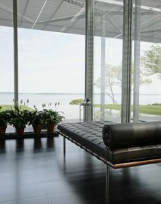 The Barcelona couch, designed by Ludwig Mies van der Rohe in Germany