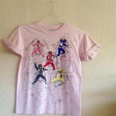 Vintage Baby pink Power Rangers tshirt 1994 vintage in PERFECT condition. Kids 14/16   Adult Small/Medium. Tops Tees - Short Sleeve