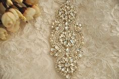 pearl and rhinestone applique for bridal sash wedding gown belt by lacetime on Etsy https://www.etsy.com/listing/228721544/pearl-and-rhinestone-applique-for-bridal