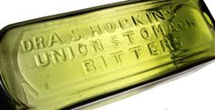 """DR A.S. HOPKINS UNION STOMACH BITTERS. 10"""". Applied top, smooth base. H-178,"""
