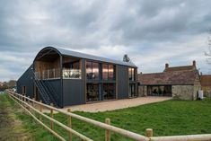 Mill Farm Barns - our new offices in Somerset. A contemporary conversion of a Dutch Barn to create a light-filled office space #contemporary #architecture #metal #metalcladding #metalbuilding #dutchbarn #barnconversion #somerset #rural #ruralarchitecture