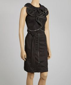 Take a look at this Black Belted Ruffle Dress by Samuel Dong on #zulily today!