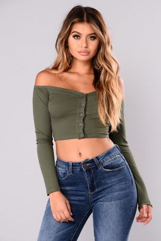 Talk That Talk Off Shoulder Top - Olive Sexy Outfits, Pretty Outfits, Stylish Outfits, Cute Outfits, Fashion Outfits, Jeans Fashion, Dress Fashion, Off Shoulder Outfits, Off Shoulder Tops