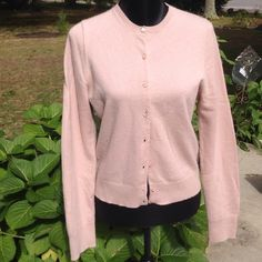 J. Crew blush cashmere cardigan, sweater Unbelievable color, soft cashmere cardigan. Two of the mother of pearl buttons are split in half, shown on the 3rd picture. Great sweater!!!! It no longer has a tag size but it fits like a large. J. Crew Sweaters Cardigans