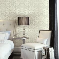 Traditional Damask Wallpaper in Ivory and Neutrals design by Seabrook Wallcoverings