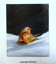 robin bird painting original ooak winter scene art Tho The Weather Outside Is Frightful.  by WitsEnd via Etsy