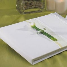 Bridal Beauty Calla Lily Traditional Guest Book #centerofattention #wedding #guestbook