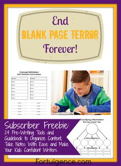 FREE ►24 Pre-Writing Tools and Guidebook to Organize Content, Take Notes with Ease & Make Your Kids Confident Writers◄  This free workbook gives you 24 pre-writing activities & a guided explanation of when and how to use each one. These pre-writing activities/graphic organizers help kids Break up the start of a writing project into small, easy-to-manage pieces, Brainstorm ideas, Organize content, Take notes from a text #ihsnet #homeschool