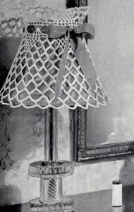 Shadow Play Lampshade crochet pattern from The Magic of Crochet, originally published by Spool Cotton Company, Book 168, in 1941.