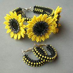 Sunflower seed bead bracelet