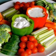 Great way to have your vegetables with a dip and not use masses of plates. Plus I think it looks really pretty and the pepper would probably add a bit of zesty flavor to the dip too!